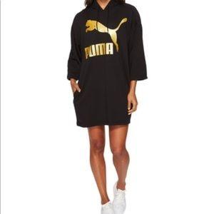 Puma Gold & Black Glam Oversized Hoodie Dress